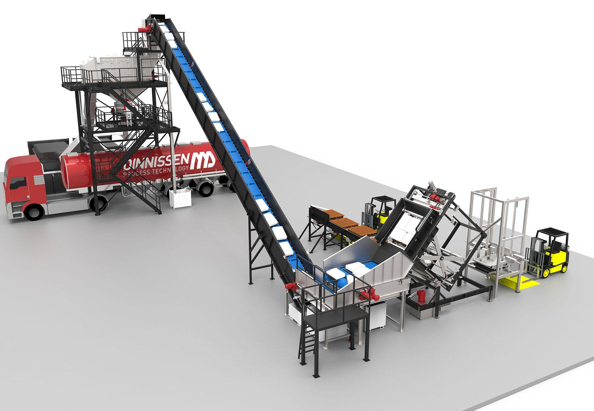 automatic bag emptying installation